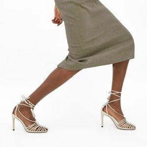 Zara Strappy Caged Beige White Heels